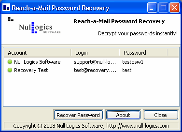 Reach-a-Mail Password Recovery